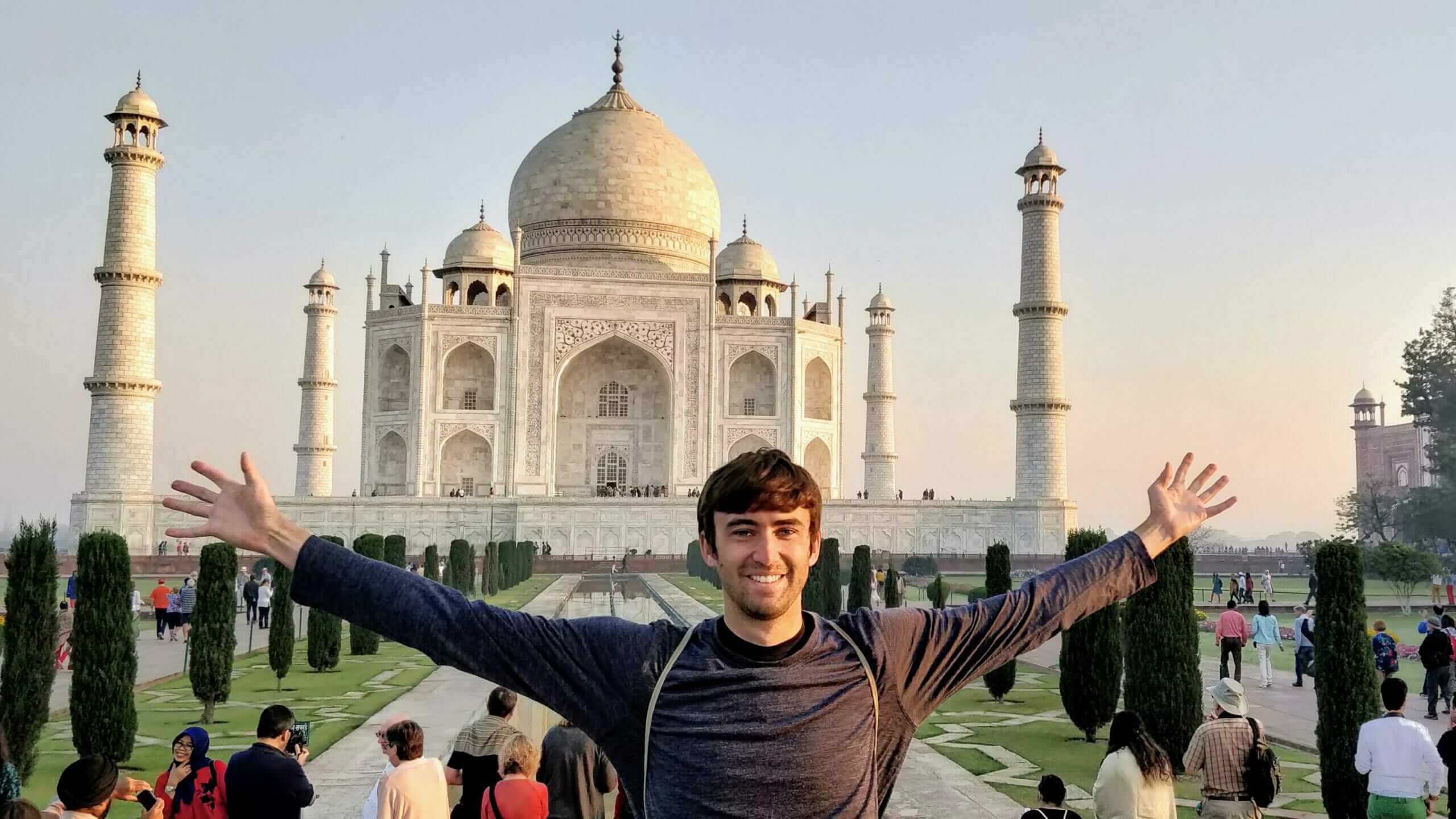 Tony Florida backpacking India at the Taj Mahal in Agra, India