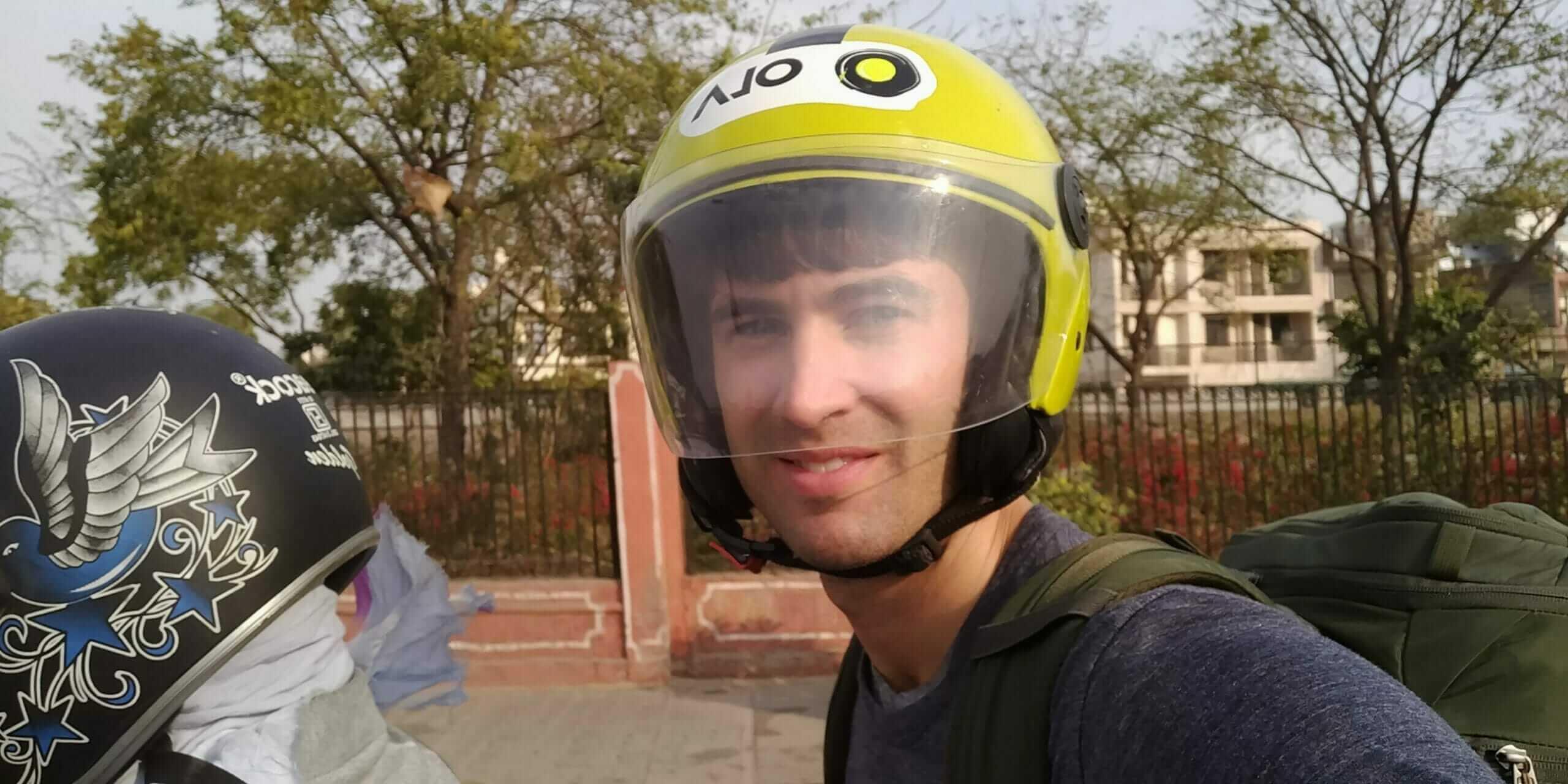 uberMOTO trip in Jaipur, India ironically with an Ola helmet