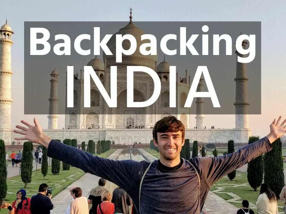 Tony backpacking India at the Taj Mahal