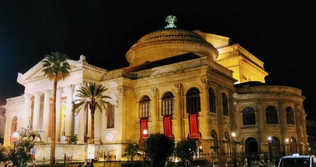 Backpacking Palermo Massimo Theater at night in Sicily