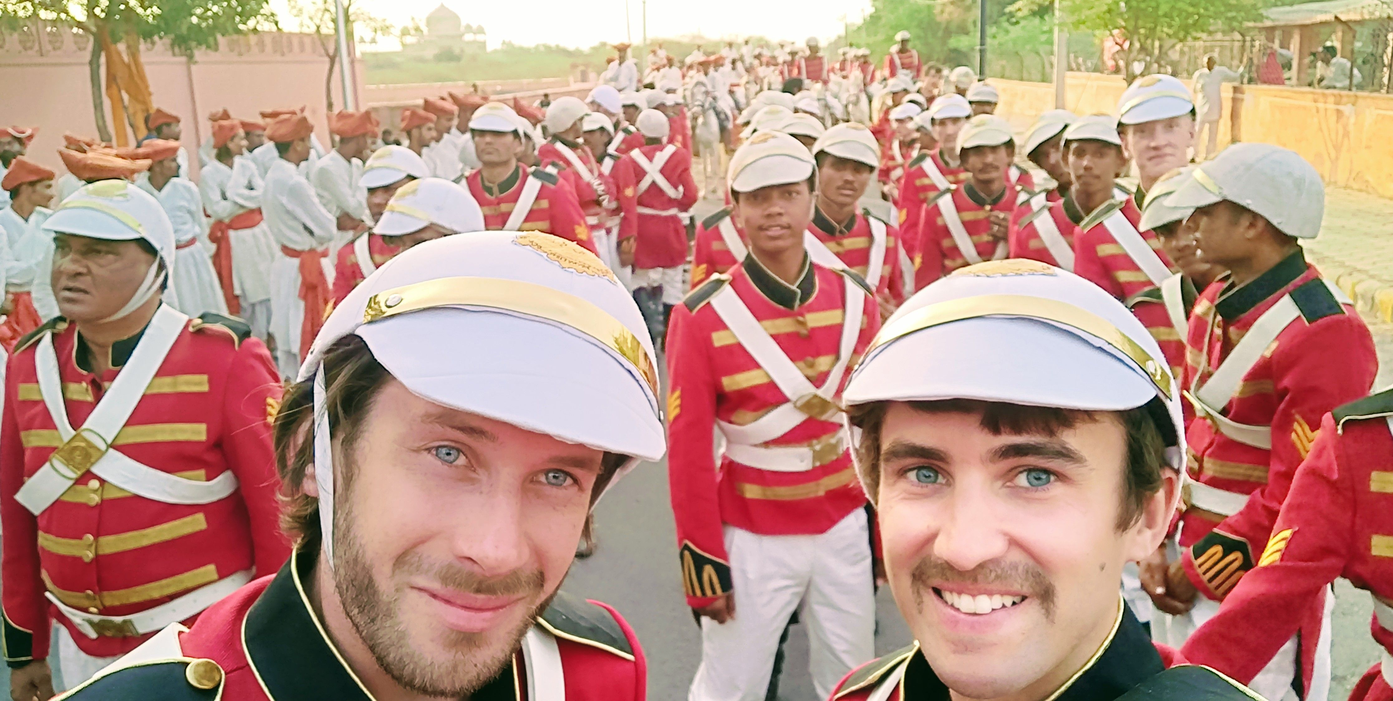 Bollywood extras as British soldiers in the Manikarnika movie