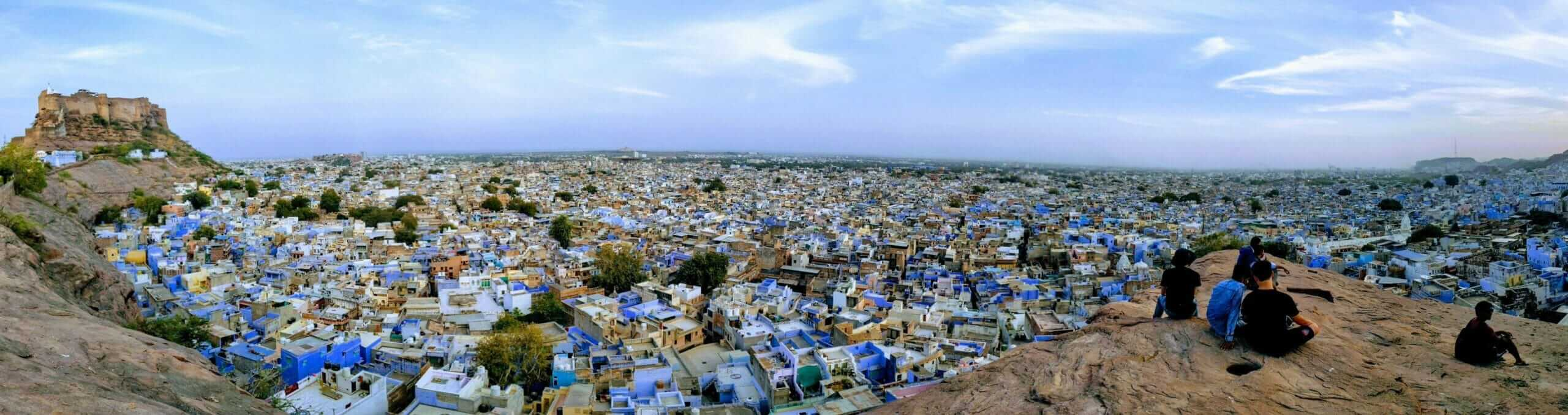 Panorama of Jodhpur from Sunset Rock showing a multitude of blue buildings
