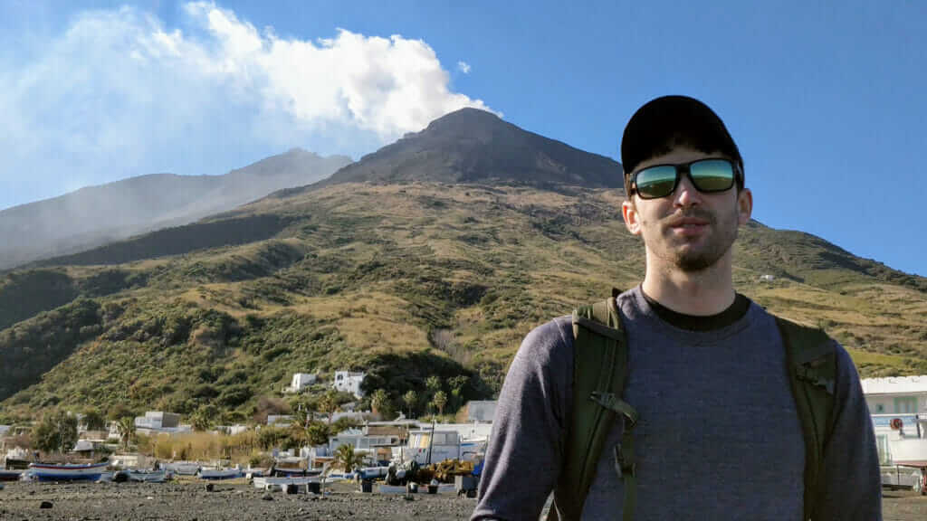 Tony Florida poses for a selfie at the Stromboli volcano