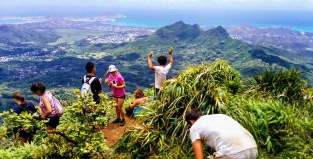 Backpacking Hawaii Oahu hike summit