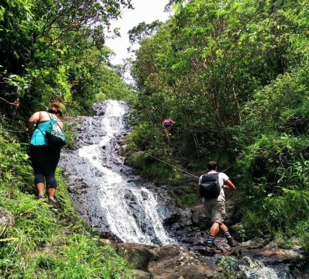 Backpacking Oahu hike with waterfalls Ka'au Crater
