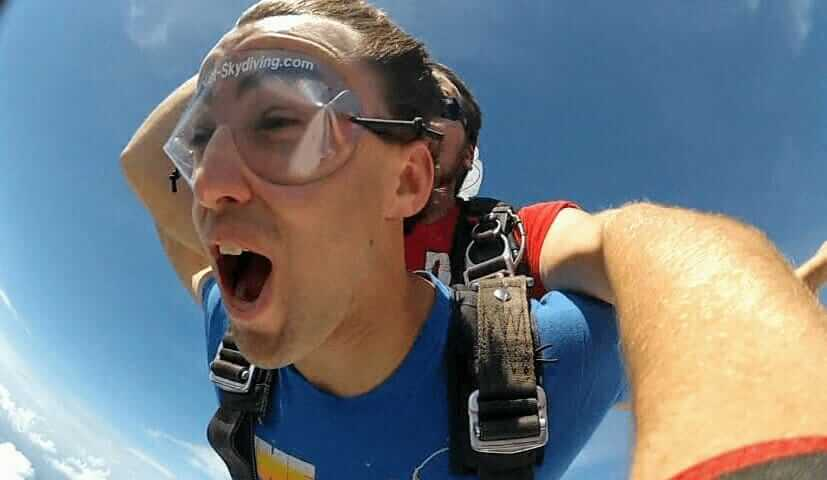 A selfie of Tony Florida skydiving at Skydive Hawaii on Oahu's North Shore