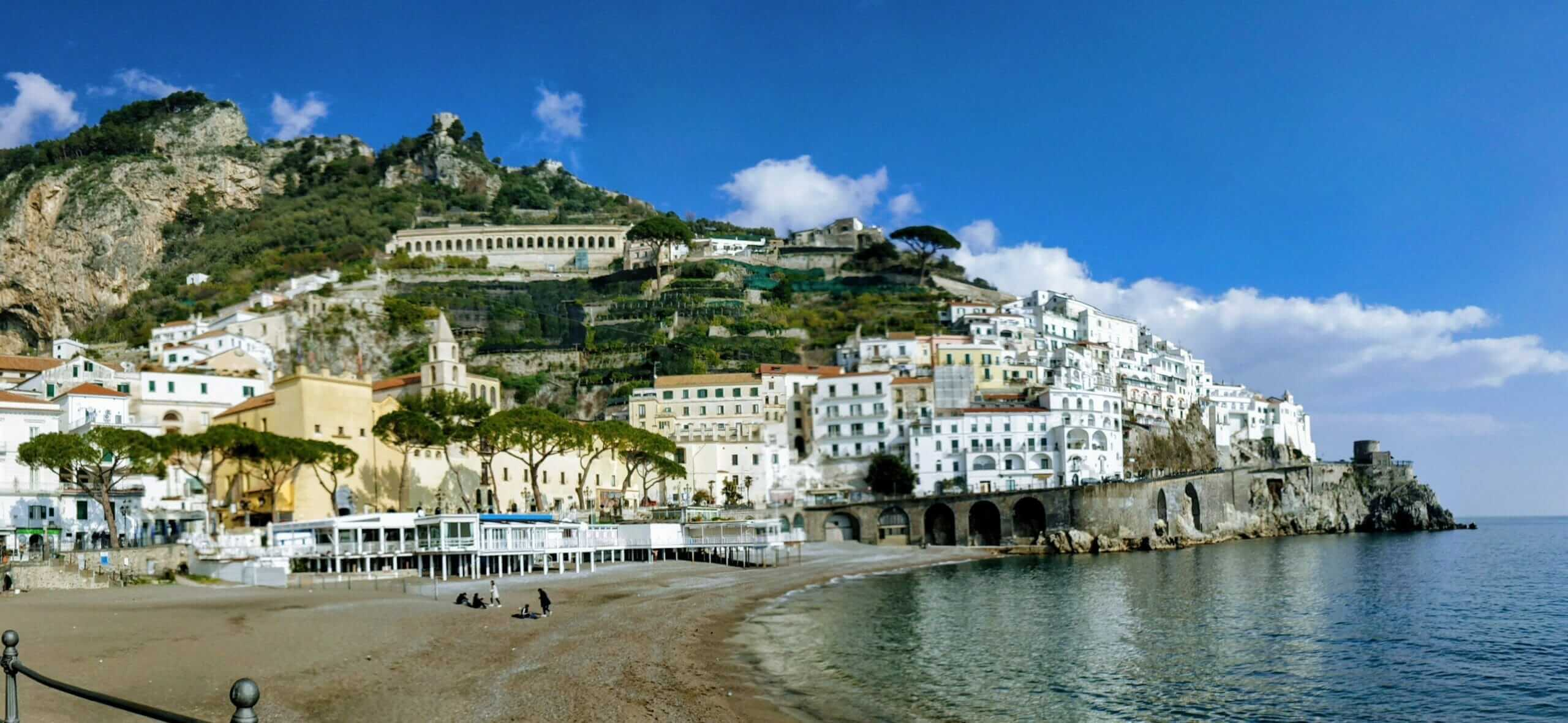 Waterfront coastline along the town of Amalfi
