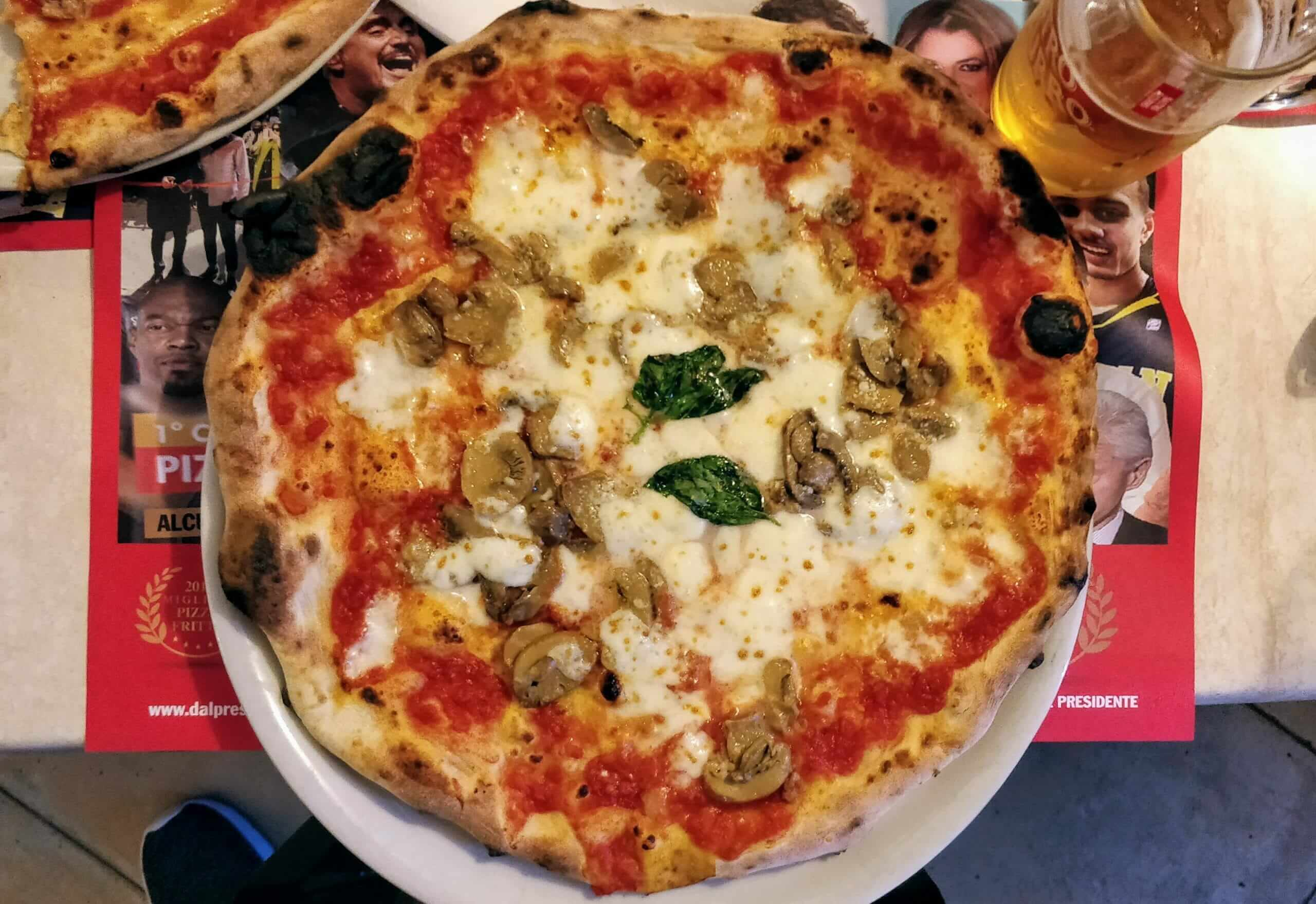 Margherita and mushroom pizza pie from Dal Presidente Pizzeria in Naples