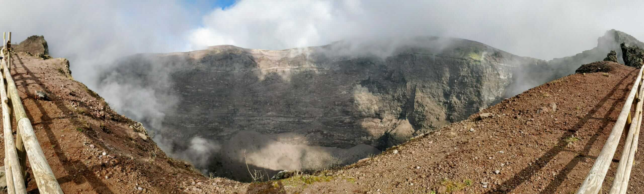 Panoramic shot of Mount Vesuvius volcano crater