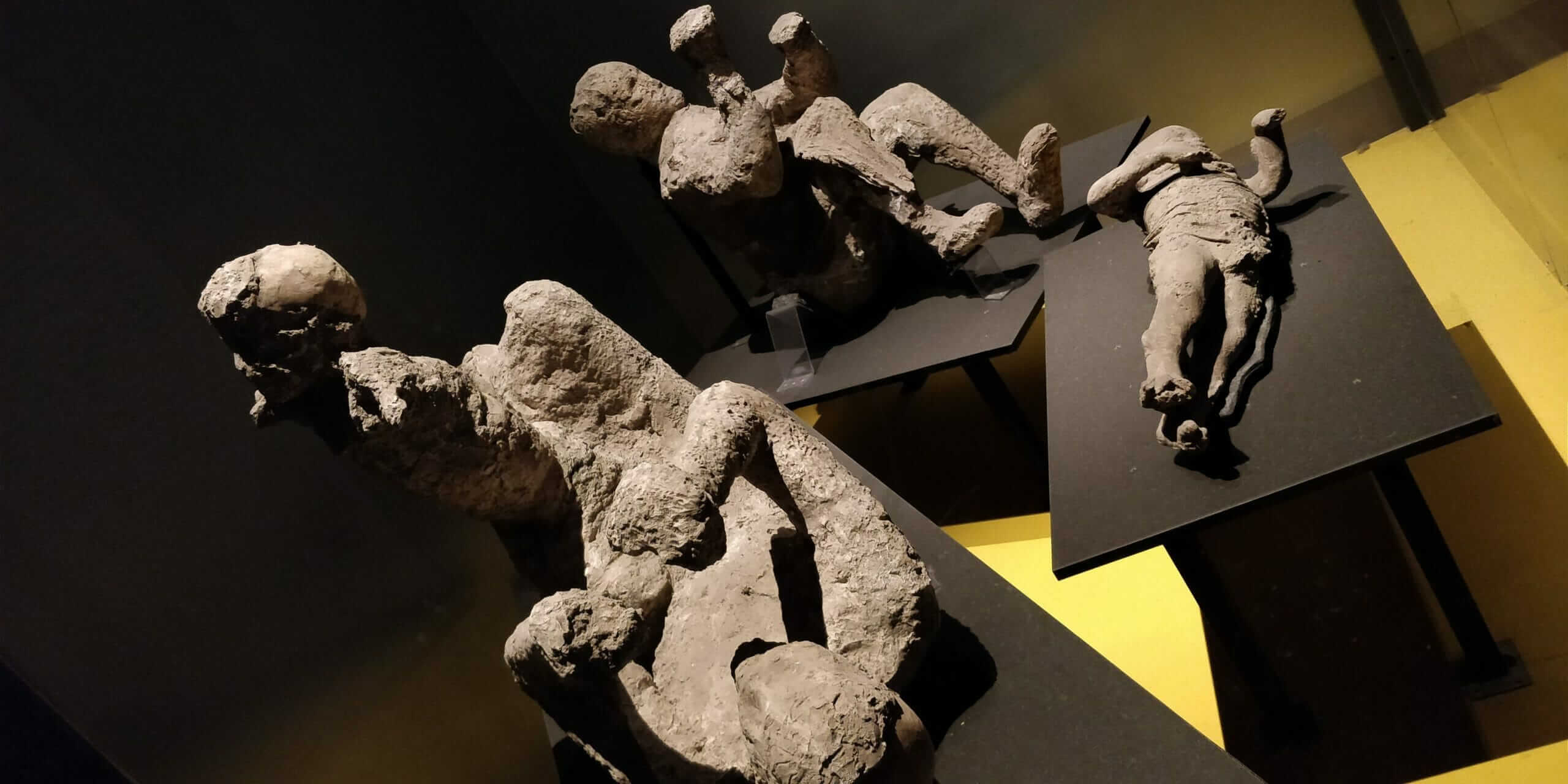 Preserved Pompeii bodies in plaster casts at museum