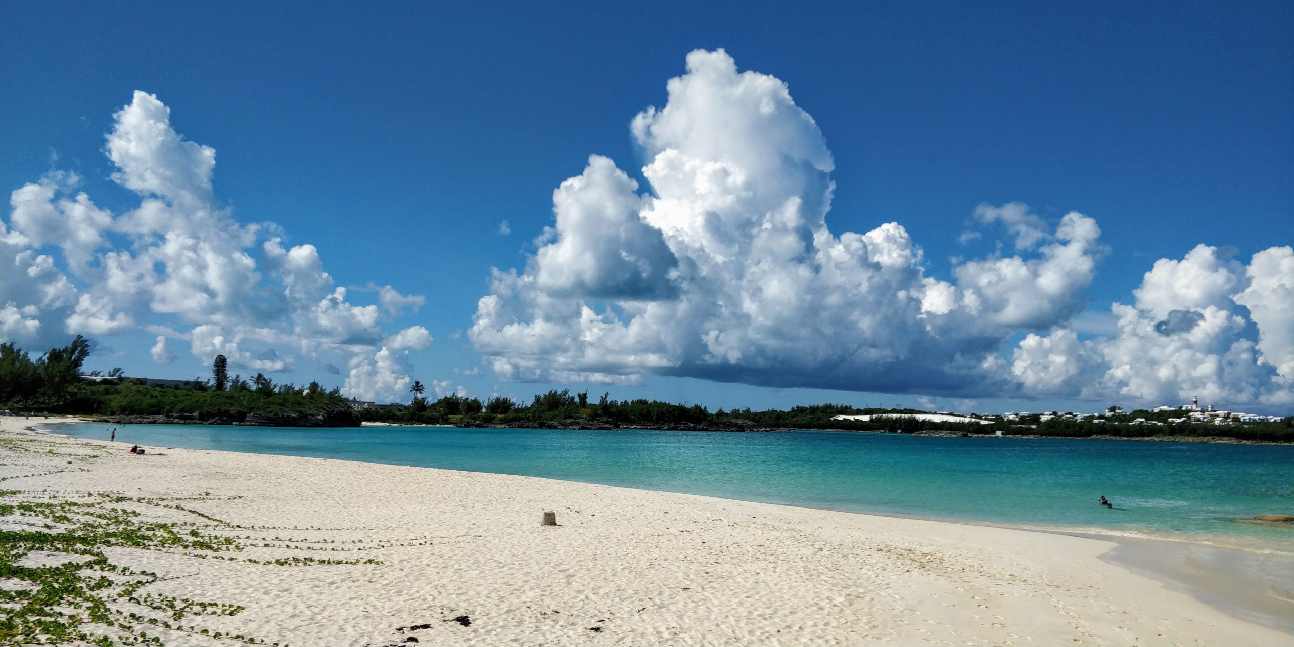 Clear water beach with puffy clouds in Bermuda