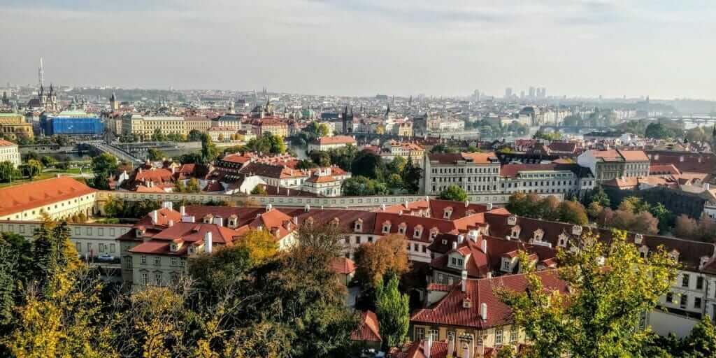 Prague skyline from Garden on the Ramparts