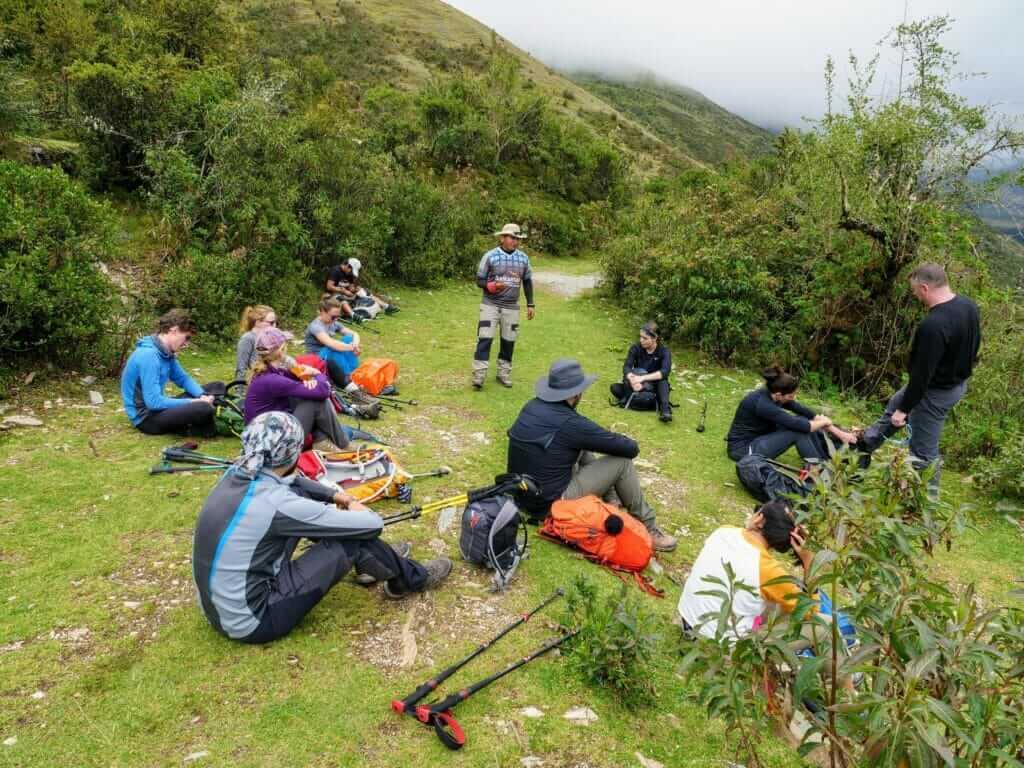 Rest break during Salkantay trek in Peru