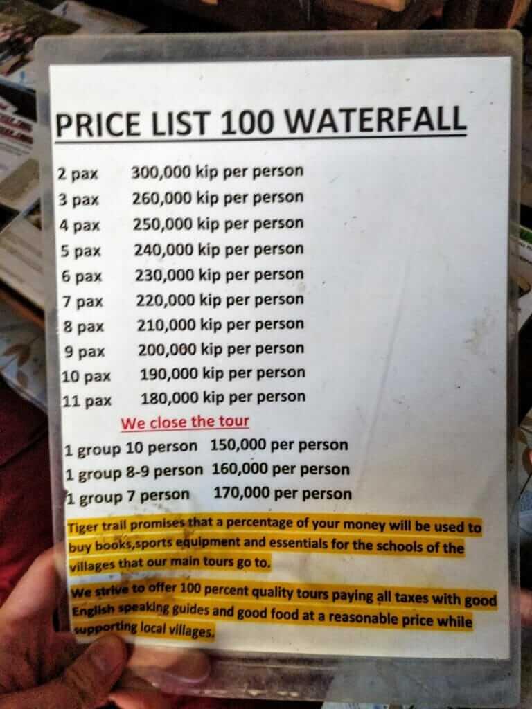 100 Waterfall trek price list