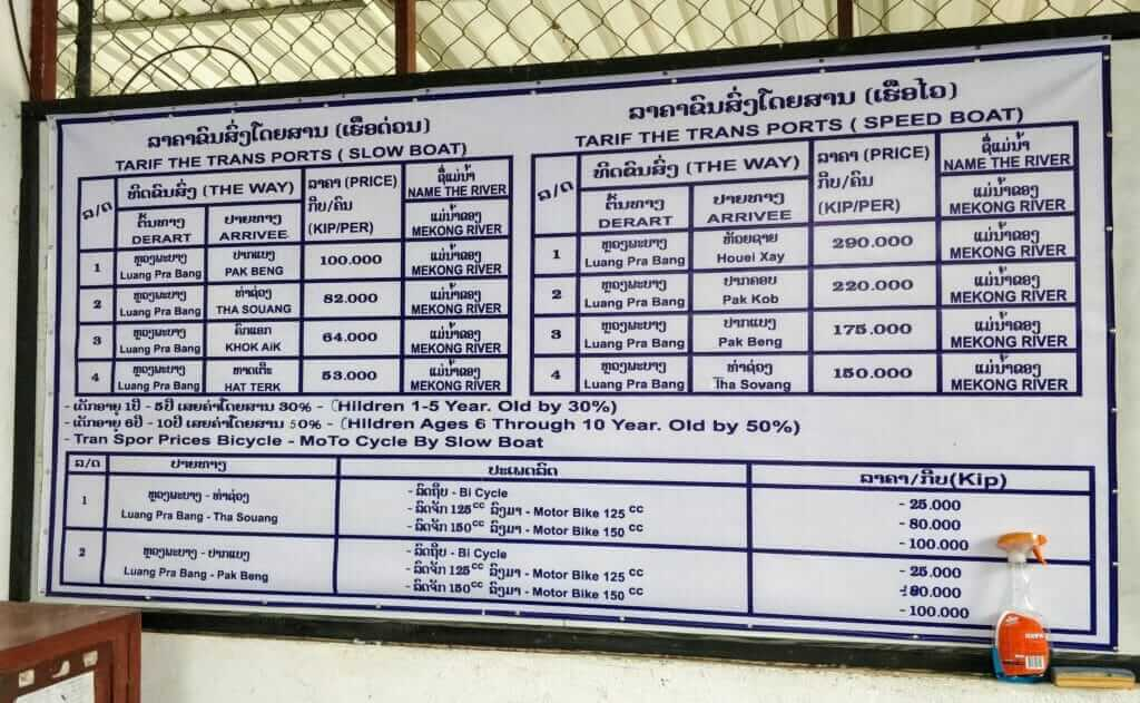 Slow boat ticket prices for Laos and Thailand