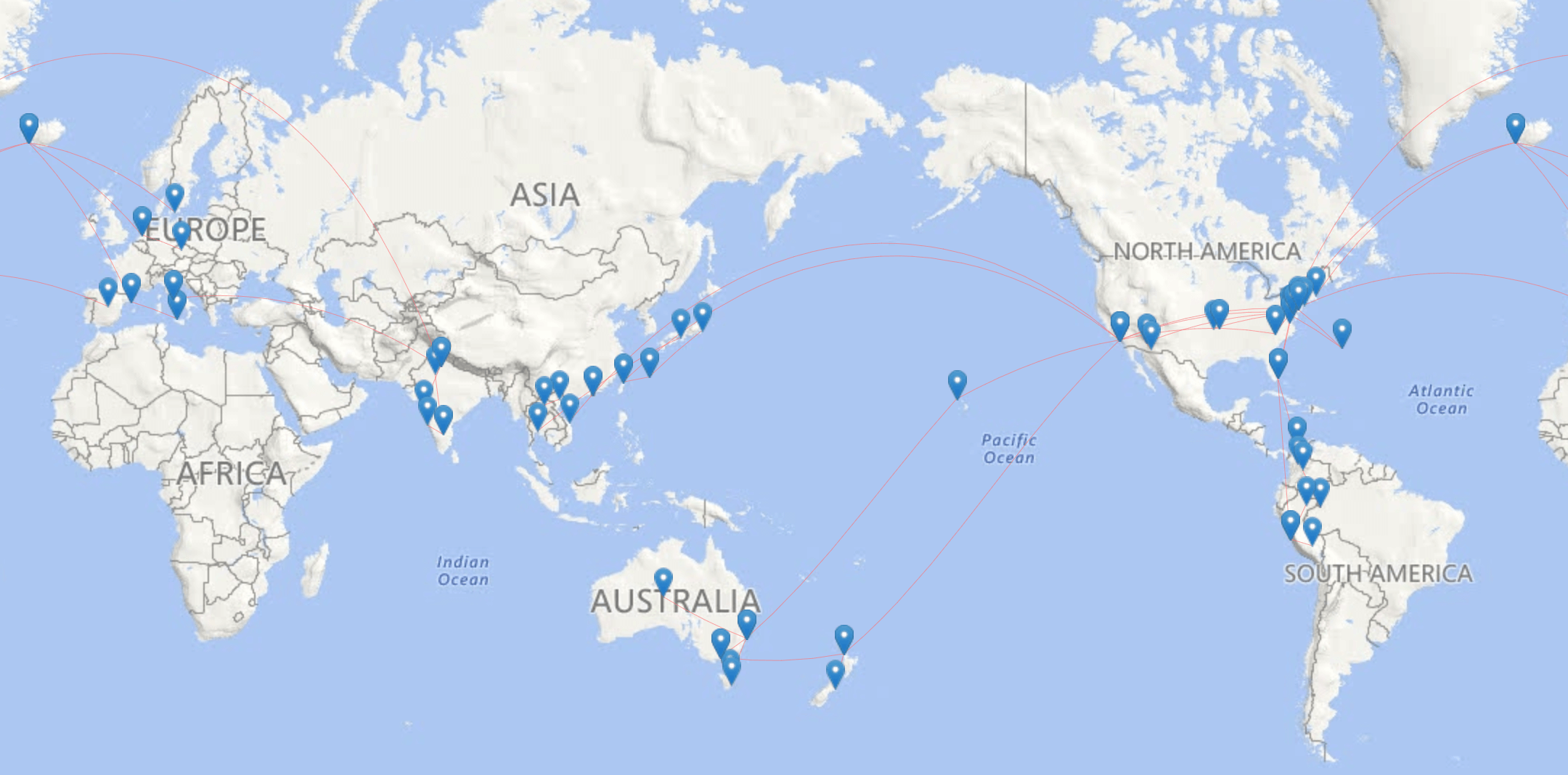 Flight route world map for my one year of travel