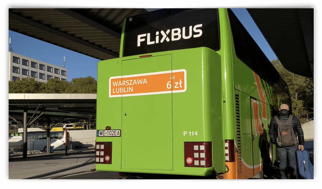 Flixbus at a bus station in Europe